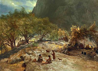 Yosemite Painting - Mariposa Indian Encampment Yosemite Valley California by Albert Bierstadt