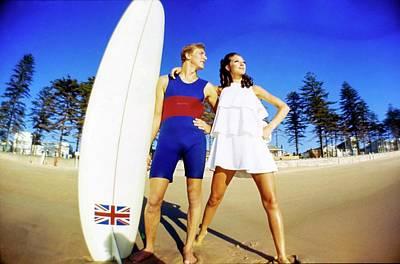 Photograph - Marisa Berenson And Surfer Nat Young by Arnaud de Rosnay