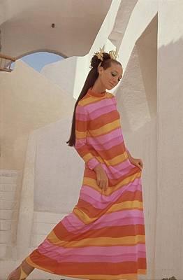 Marisa Berenson In A Bright Striped Dress Art Print