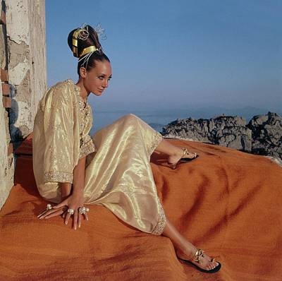 Updo Photograph - Marisa Berenson Wearing A Gold Caftan By Tina by Henry Clarke