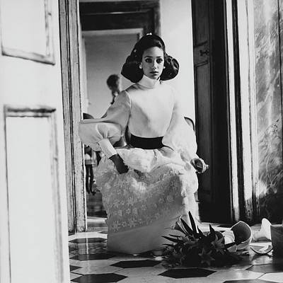 Embroidered Photograph - Marisa Berenson Wearing A High Neck Blouse by Henry Clarke