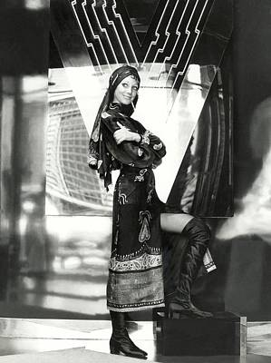 Valentino Photograph - Marisa Berenson Wearing A Paisley Dress And Scarf by Elisabetta Catalano
