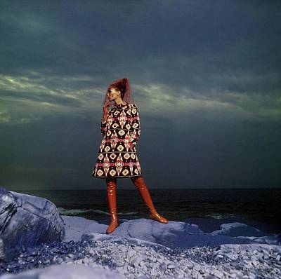 Photograph - Marisa Berenson Wearing A Patterned Coat by Arnaud de Rosnay