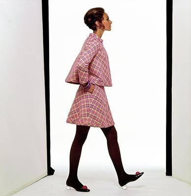 Photograph - Marisa Berenson Wearing A Plaid Suit by Gianni Penati