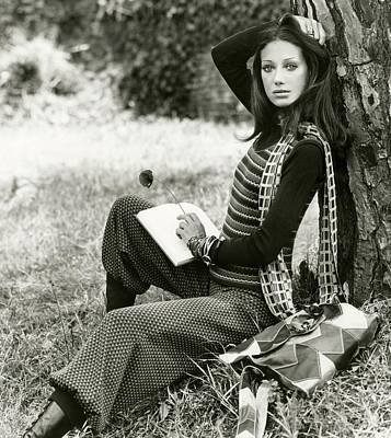 Marisa Berenson Wearing A Sweater Vest And Pants Art Print by Elisabetta Catalano