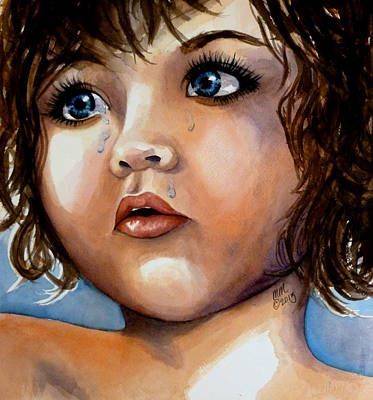 Silver-filled Painting - Crying Blue Eyes by Michal Madison