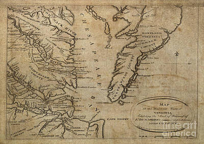 Digital Art - Maritime Map Of Chesapeake Bay Virginia 1776 by Melissa Messick