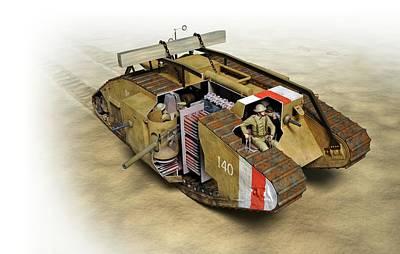 Mark Iv Tank Art Print by Jose Antonio Pe�as