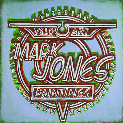 Chain-ring Painting - Mark Jones Velo Art Painting Blue by Mark Jones