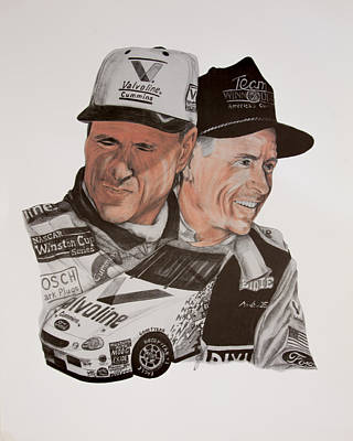 Baseball Uniform Drawing - Mark Martin Race Car Driver by Joe Lisowski