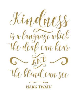 Mark Twain Kindness Art Print by Tara Moss
