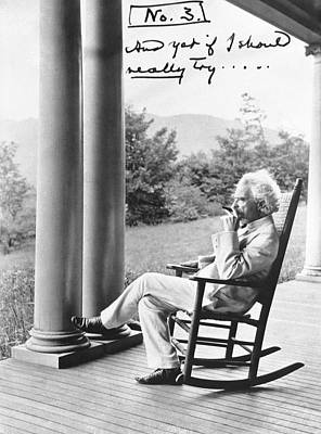 One Person Only Photograph - Mark Twain On A Porch by Underwood Archives