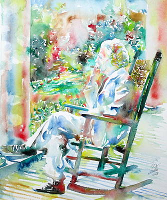 Mark Twain Sitting And Smoking A Cigar - Watercolor Portrait Art Print by Fabrizio Cassetta