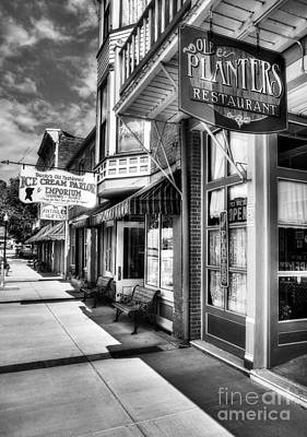 Window Signs Photograph - Mark Twain's Town Bw by Mel Steinhauer