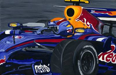 Mark Webber R B R Charging 2008  Art Print