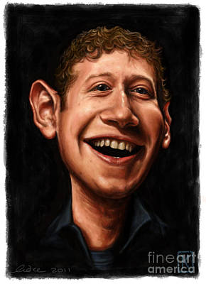Digital Art Digital Art Drawing - Mark Zuckerberg by Andre Koekemoer