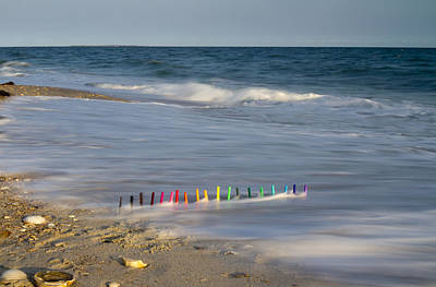 Beach Royalty-Free and Rights-Managed Images - Markers in the Surf by Betsy Knapp