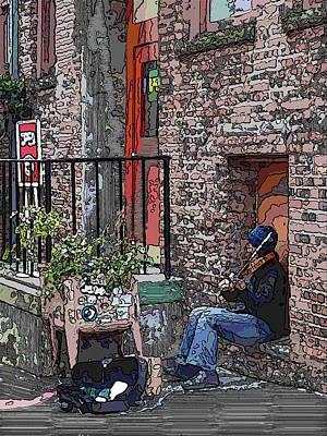 Violin Digital Art - Market Busker 15 by Tim Allen