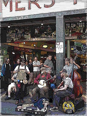 Digital Art - Market Buskers 3 by Tim Allen