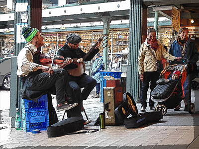 Digital Art - Market Buskers 4 by Tim Allen