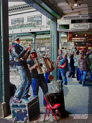 Digital Art - Market Buskers 5 by Tim Allen