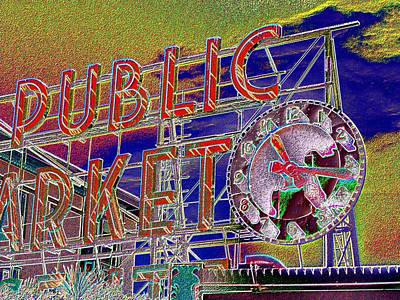 Farmers Market Digital Art - Market Clock 1 by Tim Allen