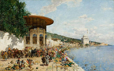 Market Day Painting - Market Day In Constantinople by Alberto Pasini