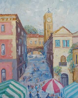 Market Day Orvieto Italy Original by Elinor Fletcher