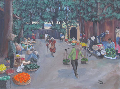 Chinese Market Painting - Market Day by Pete Souza
