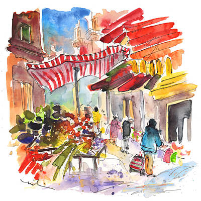 Sicily Drawing - Market In Palermo 04 by Miki De Goodaboom