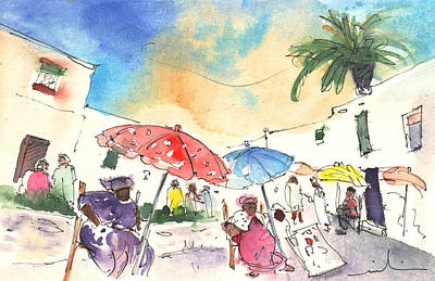 Impressionism Drawings - Market in Teguise in Lanzarote 01 by Miki De Goodaboom