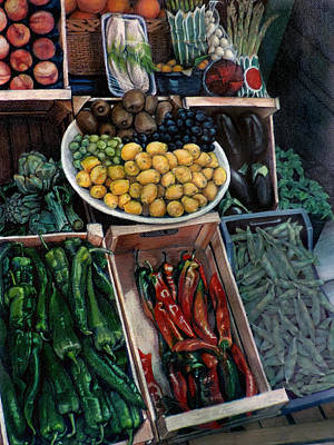 Vegetable Market Drawing - Market by Kathleen English-Barrett