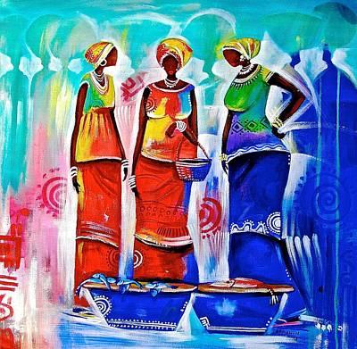Painting - Market Ladies by Appiah Ntiaw