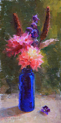 Redmond Painting - Market Melody - Dahlias And Cattails by Karen Whitworth