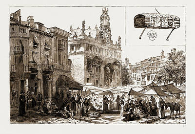 Market Place And Church Of San Juanes, Valencia Art Print