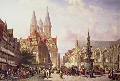 Covered Wagon Photograph - Market Scene At Braunschweig by Cornelius Springer