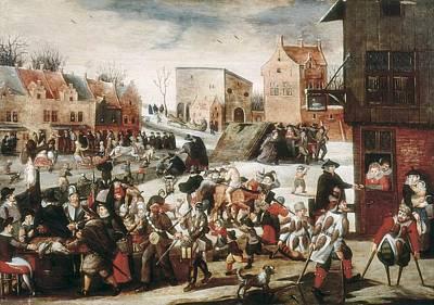 Market Scene In Netherlands, 16th Art Print by Everett