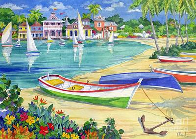 Caribbean House Painting - Market Street Harbor by Paul Brent