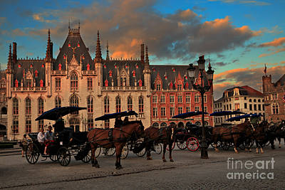 Markt Square At Dusk In Bruges Art Print by Louise Heusinkveld