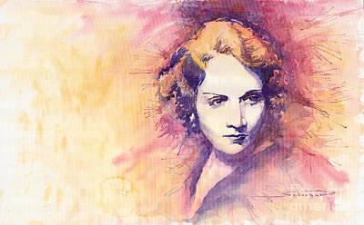 Retro Portret Painting - Marlen Dietrich 1 by Yuriy  Shevchuk
