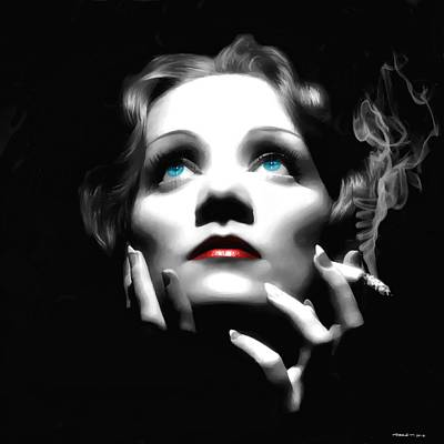 Digital Art - Marlene Dietrich Portrait by Gabriel T Toro