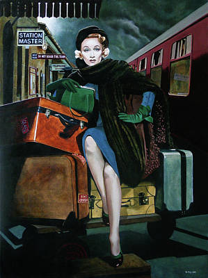 Painting - Marlene Dietrich - Travelling Light by Jo King