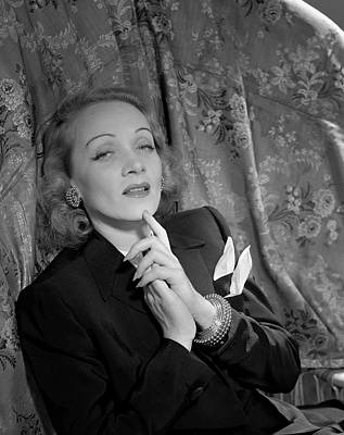 Marlene Dietrich Wearing A Suit Jacket Art Print by Horst P. Horst