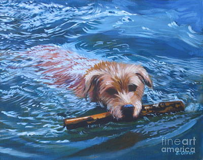 Water Retrieve Painting - Marley Swimming by Elisabeth Olver
