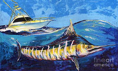 Fish-eye Look Painting - Marlin At Sea by Lovejoy Creations