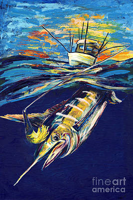 Fish-eye Look Painting - Marlin Catch by Lovejoy Creations