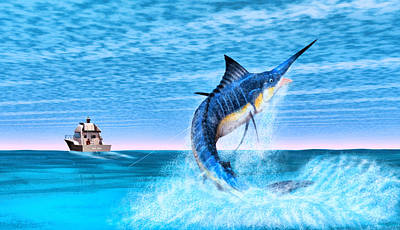 Digital Art - Marlin Fishing by Walter Colvin