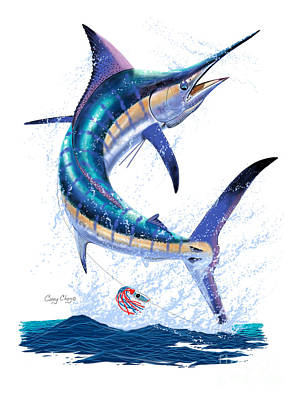 Marlin Leap Art Print by Carey Chen
