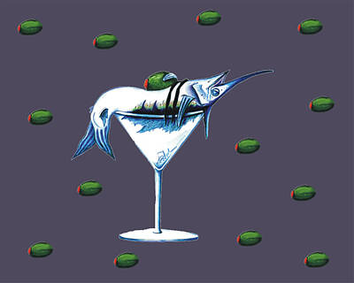 Martini Drawing - Marlin Martini by Karen Rhodes