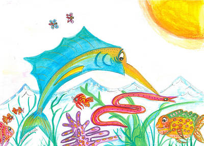 Sailfish Mixed Media - Marlin by Patricia Victoria